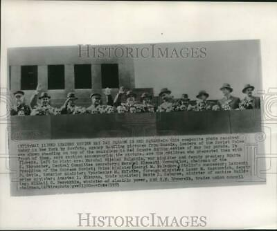 1953 Press Photo Soviet Leaders Review May Day Parade in Moscow's Red Square