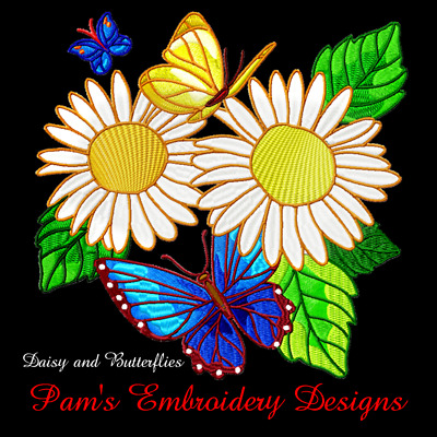 DAISY AND BUTTERFLIES 10 MACHINE EMBROIDERY DESIGNS CD or USB