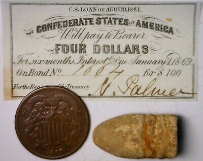 1861 CONFEDERATE $2 CSA Intrest Note+ Civil War BULLET + 1865 TWO CENT Coin  NR
