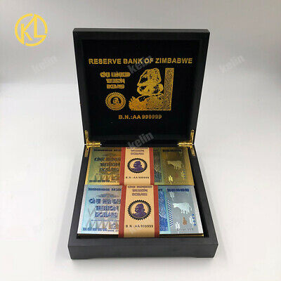 50X2pcs Zimbabwe 100 Trillion Dollar Gold Silver Banknotes in wooden box and COA