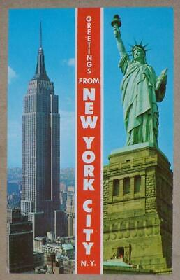 Unused 1960'S Pc, Greetings From New York City, Empire State Building, Librrty