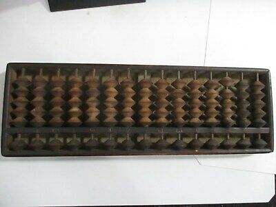 Vintage Chinese China Wood  Face Carved Abacus Bead Counting Frame