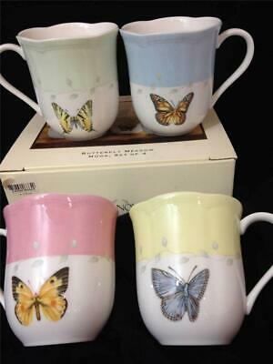 new Butterfly Meadow LENOX boxed SET 4 Coffee MUGS porcelain NWT pastel colors