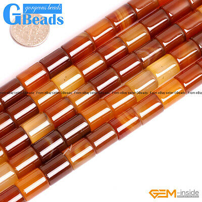 "Natural Carnelian Agate Tube Beads For Jewelry Making Free Shipping 15"" 4-12mm"
