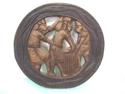 "Hand Carved Wooden Tribal Plaque, Made in Haiti 11"" Diameter Home Decor"