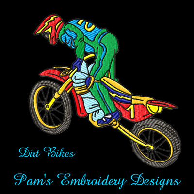 DIRT BIKES 10 MACHINE EMBROIDERY DESIGNS CD or USB