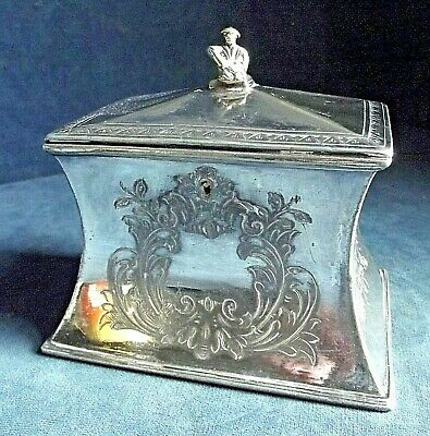 GOOD ~ GEORGIAN Style ~ SILVER Plated ~ 'Chinaman' Tea CADDY ~ c1900