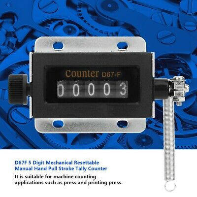 D67F 5 Digit Mechanical Click Resettable Manual Hand Pull Stroke Tally Counter