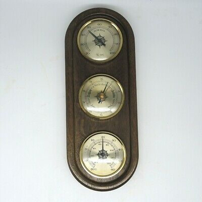 Wetterstation Barometer Thermometer ca. 28 x 11 cm Holz Messing