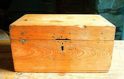 19th c. Victorian antique pine box / tea caddy. Lovely mellow condition