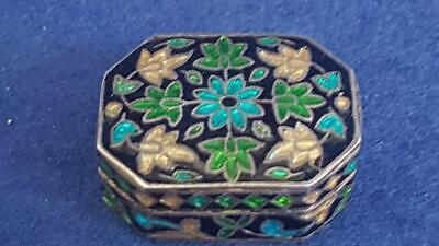 Wonderful Small Brightly Enamelled Vintage Sterling Silver Pill Box