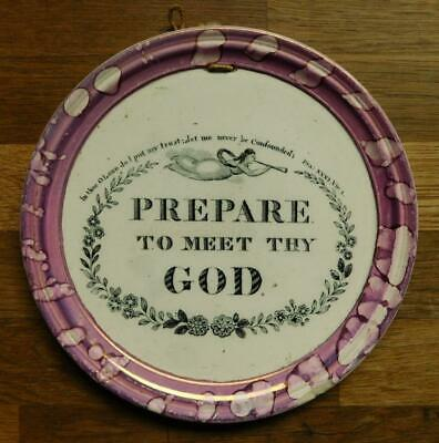 C.C&Co Sunderland Lustreware wall plaque PREPARE TO MEET THY GOD c1830s