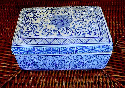 Fine VTG Chinese Rectangular HandPainted Blue White Porcelain Trinket Box MARKED