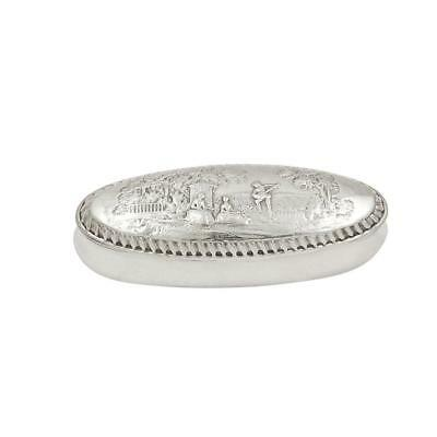 ANTIQUE VICTORIAN STERLING SILVER RING BOX with SCENES 1900