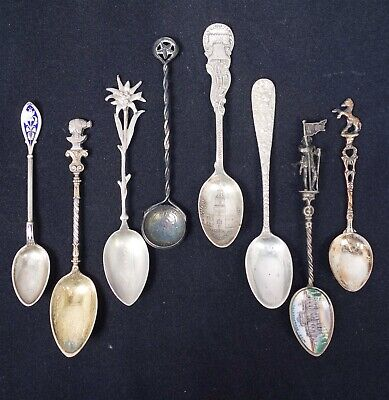 Estate Found Antique 19c/Early 20c Lot 8 Silver Demitasse Spoons incl Enamel