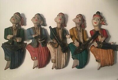 Set 5 Musician Plaques Music Vintage Wall Hanging Numbered Made In Taiwan