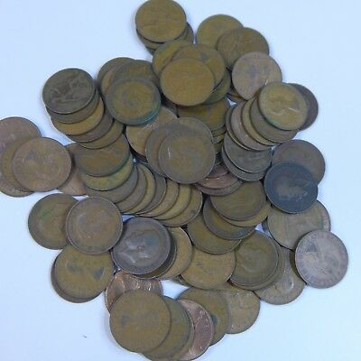 Lot of (100) Mixed Great Britain Old Bronze Pennies, All Dated  Pre-1968
