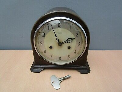 Vintage Bakelite Smiths Enfield Mantle Clock - With Key