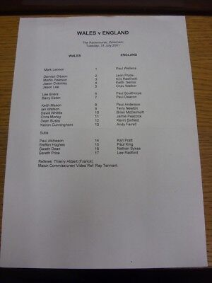 31/07/2001 Rugby League: Teamsheet - Wales v England [At Wrexham FC] (folded). B
