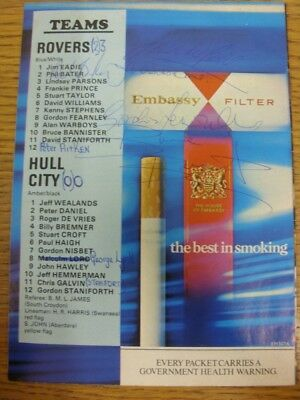 27/11/1976 Autographed Programme: Bristol Rovers v Hull City - Signed by 8 Playe