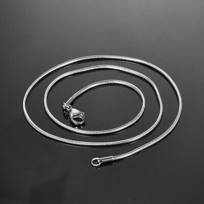 1PC Dull Silver Tone Stainless Steel Round Snake Chain Necklace Jewelry 1.5mm JA
