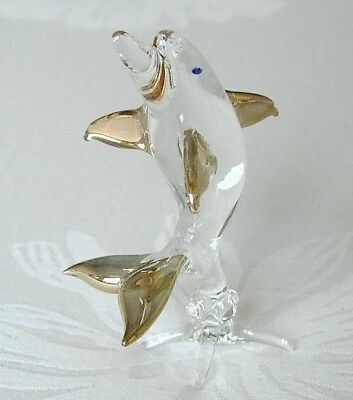 Curio Glass DOLPHIN, PORPOISE Clear Glass & Gold Painted Animal Figure Ornament