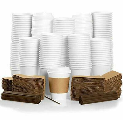 12 oz To Go Coffee Cups with Sleeves, Lids Stirrers Disposable... 100 Pack
