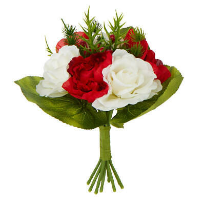 Holiday Artificial Christmas Rose and Peony Bouquet