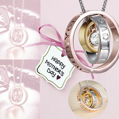 I LOVE YOU MUM Gold Crystal Necklace & Pendant Birthday Mothers Day Moms Gift BG
