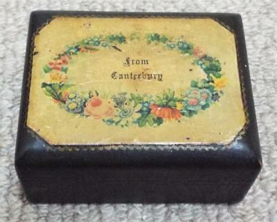 From Canterbury - Antique 1880 Black Mauchline Ware Wooden Trinket Box
