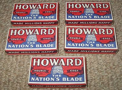 Safety Razor Blades 5 Boxes of 1940s Howard Blades