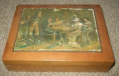 Playing Card Box Antique Vintage Wooden Game of Chance Box c1850