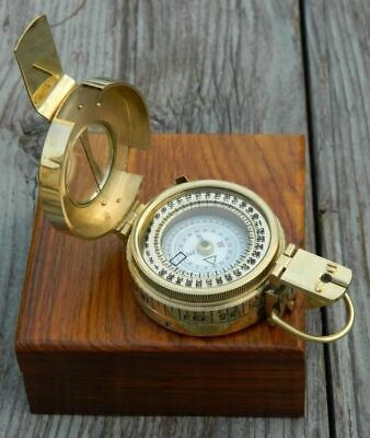 Antique Gift Prismatic Compass Vintage Brass Solid British With Wooden Box