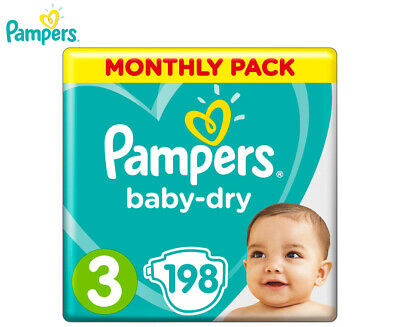 Pampers Baby-Dry Crawler Size 3 6-10kg Nappies 198-Pack