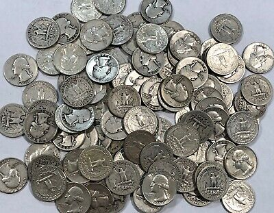 2.5 ROLLS of Washington 90% SILVER QUARTERS. $25 face value, 100 silver coins.