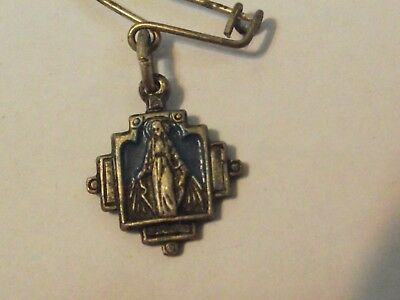 Vtg 14mm brooch pin medal charm blue enamel ornate Miraculous Virgin Mary Italy