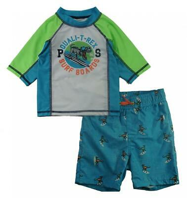 Skechers Boys Turquoise Two-Piece Rashguard Swim Set Size 2T 3T 4T 4 5 6 7