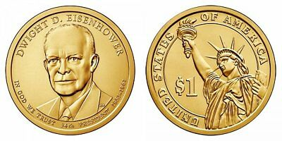 2015 P Dwight D. Eisenhower Presidential One Dollar Coins from U.S. Mint Rolls
