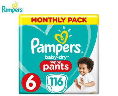 Pampers Baby-Dry Junior Size 6 15kg+ Nappy Pants 116-Pack