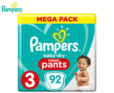 Pampers Baby-Dry Crawler Size 3 6-10kg Nappy Pants 92-Pack