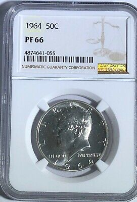 1964 NGC PF66 PROOF KENNEDY HALF DOLLAR WHITE COINS 50 c 90% SILVER