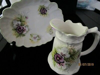 "Vintage James Kent England Ltd dish and creamer ""Old Foley"" purple pansy -1950's"
