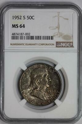 1952 S Silver Franklin Half Dollar MS64 NGC United States Mint 50c Coin