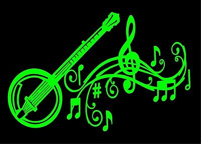 Banjo Decal Musical Staff Notes Vinyl Car Truck Window Laptop Sticker