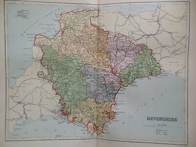 Victorian Colour Map of Devonshire (c1894) Devon, Exeter, Tiverton, Plymouth