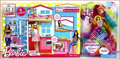 LOT 2- Barbie 4 Rooms 2 STORY HOUSE & Furniture + Rainbow Cove Light Show Doll