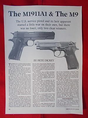 Vintage 1985 4 page art. 116 .45 M1911A1 & .9MM M9 pistol / exploded view & data