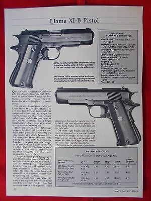 Vintage 1985 2 page art. 116 Llama XI-B Pistol with specifications