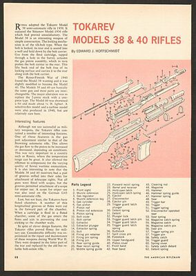 Vintage 68 2 page article 8613 Tokarev Models 38 & 40 Rifles with Exploded View
