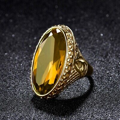 Mens Gold Stainless Steel Yellow Citrine Gemstone Thumb Ring Celtic Band Jewelry